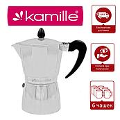 Гейзерная кофеварка 300 мл на 6 чашек Kamille Round Handle
