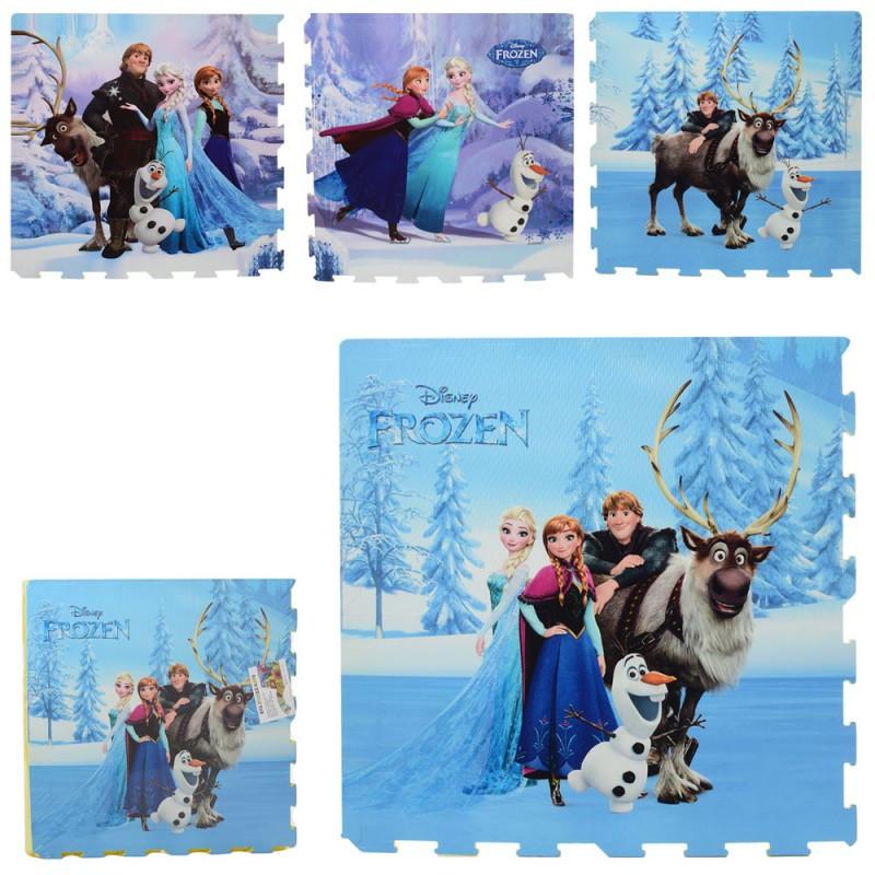 Детский Коврик Мозаика Пазл для пола в стиле Фроузен Frozen 4детали( 61х61х1см),EVA M 5799