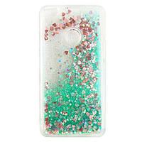 Чехол Glitter для Huawei P8 lite 2017 / P9 lite 2017 Бампер Жидкий блеск Бирюзовый