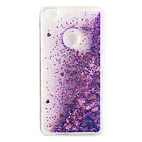 Чехол Glitter для Honor 8 Lite Бампер Жидкий блеск Фиолетовый