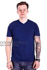 Мужская однотонная футболка 44/2 Mastif темно-синий M