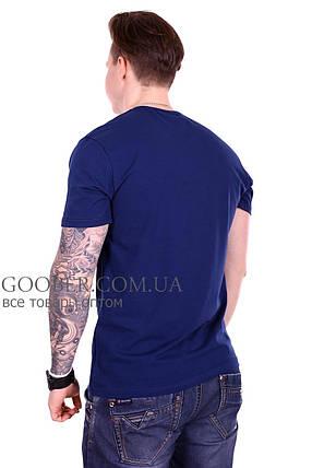 Мужская однотонная футболка 44/2 Mastif темно-синий M, фото 2