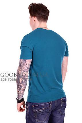 Мужская однотонная футболка 44/3 Mastif зеленый M, фото 2