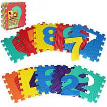 Детский Коврик Мозаика Пазл для пола Массажный Цифры EVA M 2608, 10 деталей, 6 текстур