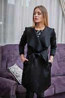 Стильное пальто-халат прямого силуэта с большими лацканами Elegence