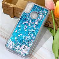 Чехол Glitter для Xiaomi Mi 8 SE Бампер Жидкий блеск сердце Синий