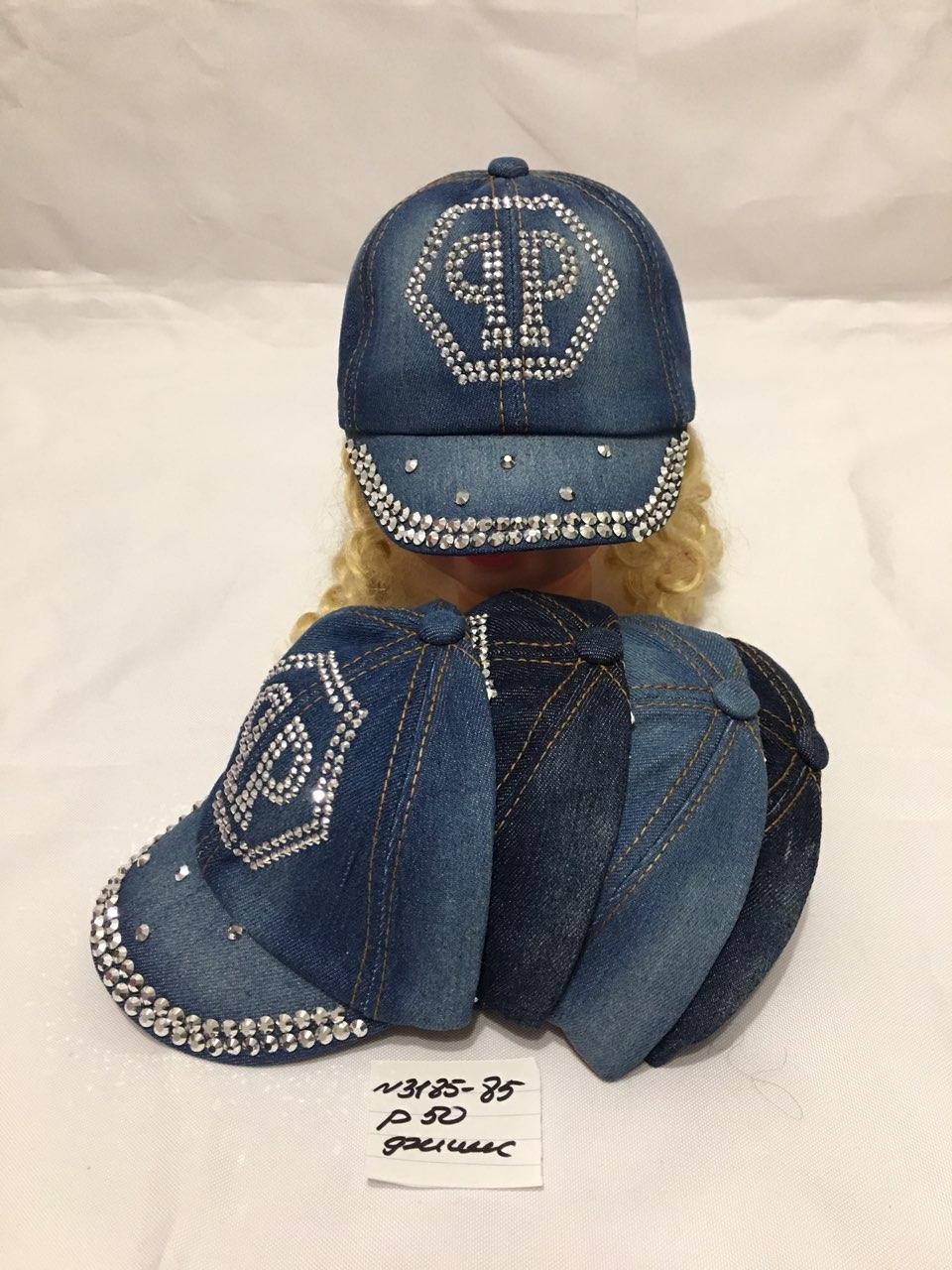 Стильная джинсовая летняя кепка для девочки р.50