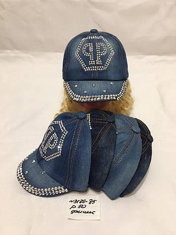 Стильная джинсовая летняя кепка для девочки р.50, фото 2
