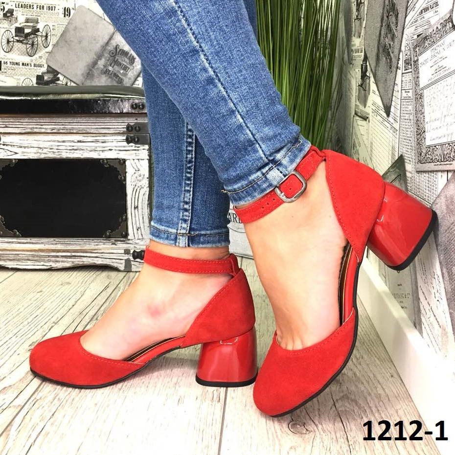 Женские открытые туфли из натуральной замши на каблуке красные