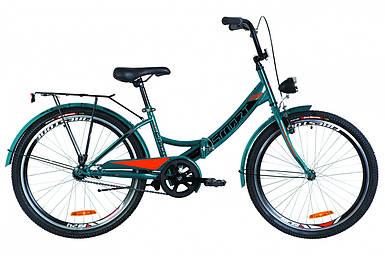 """Складной велосипед 24"""" Formula SMART с фонарём 2019 (синий с оранжевым (м))"""