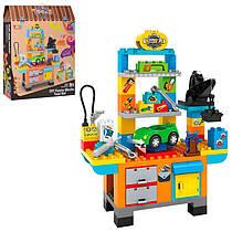 Конструктор великі деталі для малюків Автомайстерня - верстак, інструменти, машина, JDLT 5340 типу лего дупл