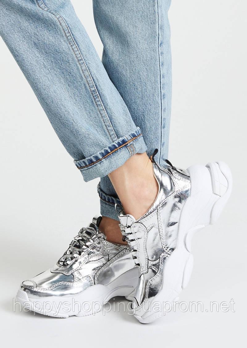 Женские стильные серебристые кожаные  кроссовки Jeffrey Campbell
