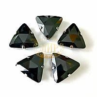 Cтразы в цапах Треугольник, размер 18мм, цвет Jet, 1шт