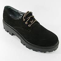 Туфли черные женские глубокие на шнуровке ЗАМША натуральная, весна-осень