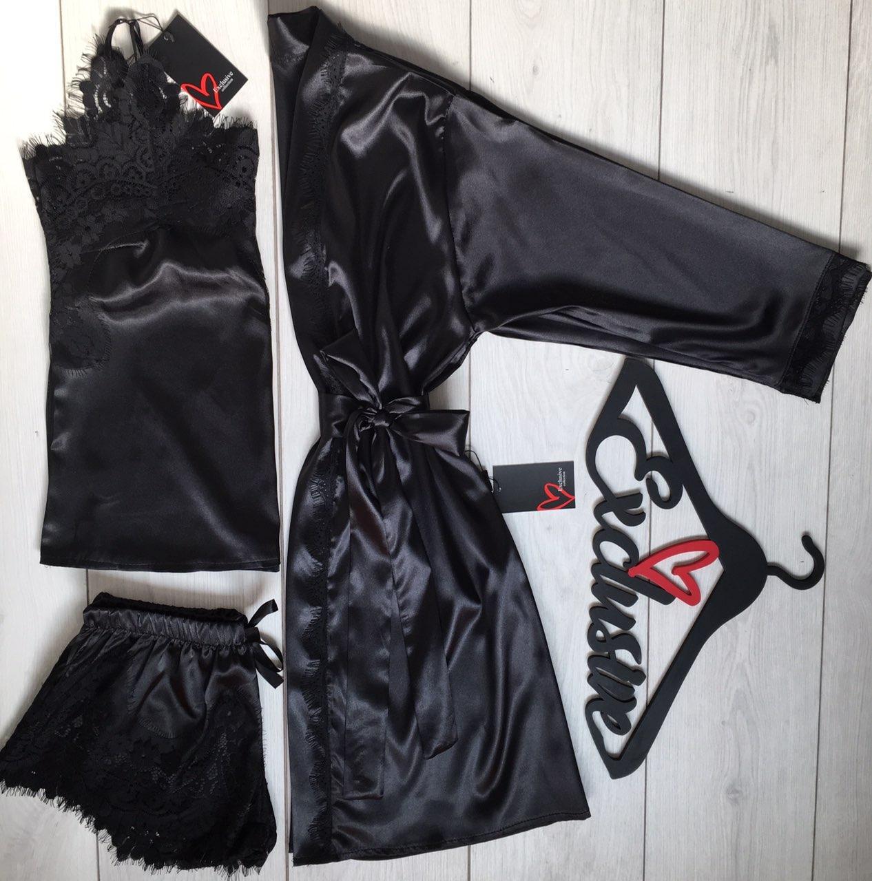 Черный шелковый халат+пижама с кружевом-комплект ТМ Exclusive 090-033.