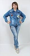 Джинсовый женский жакет со стразами, размеры 50-56