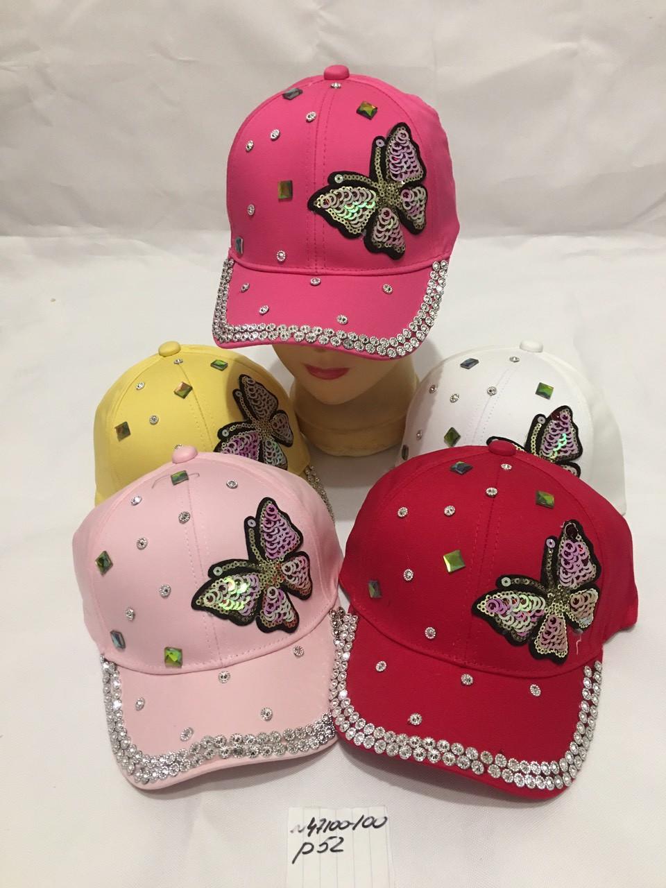 Дитяча красива кепка для дівчинки Метелик р. 52