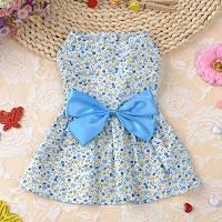 Летнее платье с бантом для вашего питомца. Цвет голубой.