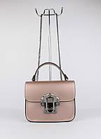 Кожаная мини-сумочка Borse inpelle 323910-5 пудра перламутр, Италия, фото 1