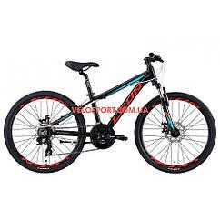 Подростковый велосипед Leon Junior AM DD 24 дюйма черно-красный с синим