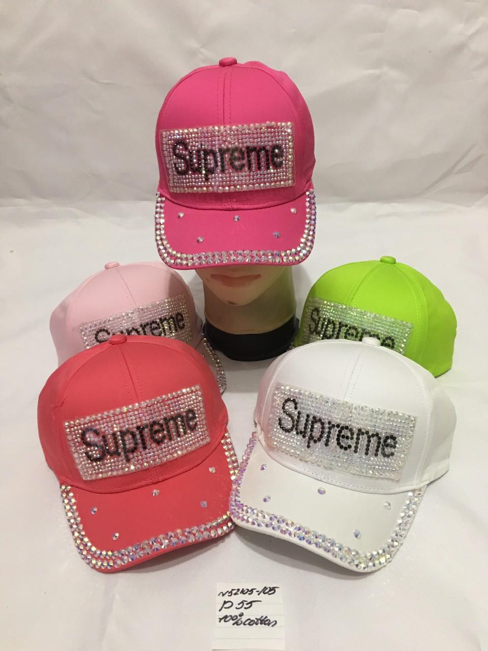 Дитяча стильна кепка для дівчинки Supreme р. 55 100% cotton