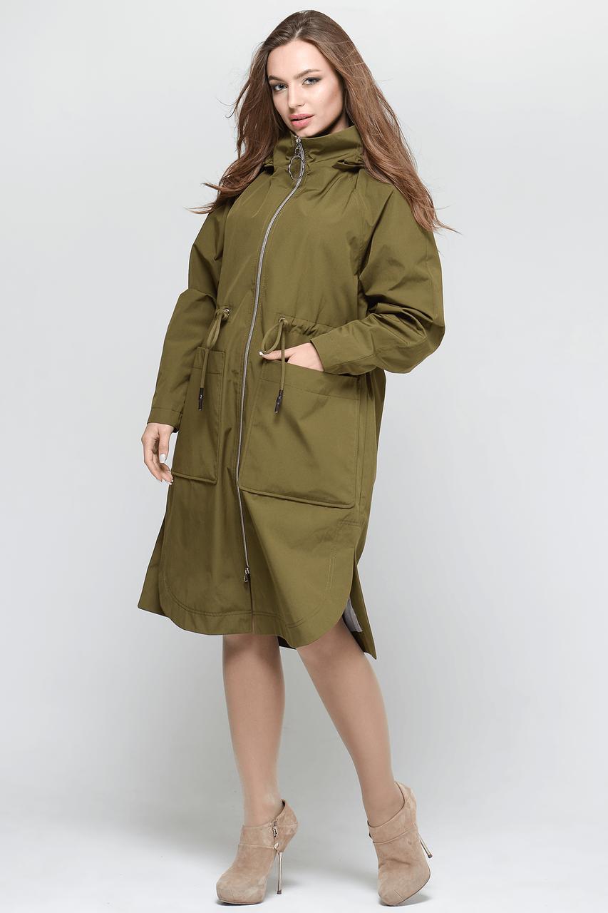 Стильная женская куртка тренчкот СW18C033FW хаки