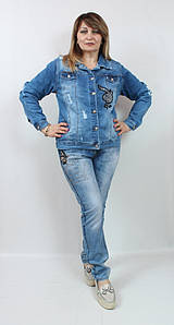 Джинсовый женский жакет со стразами и бусинами, размеры 50-56