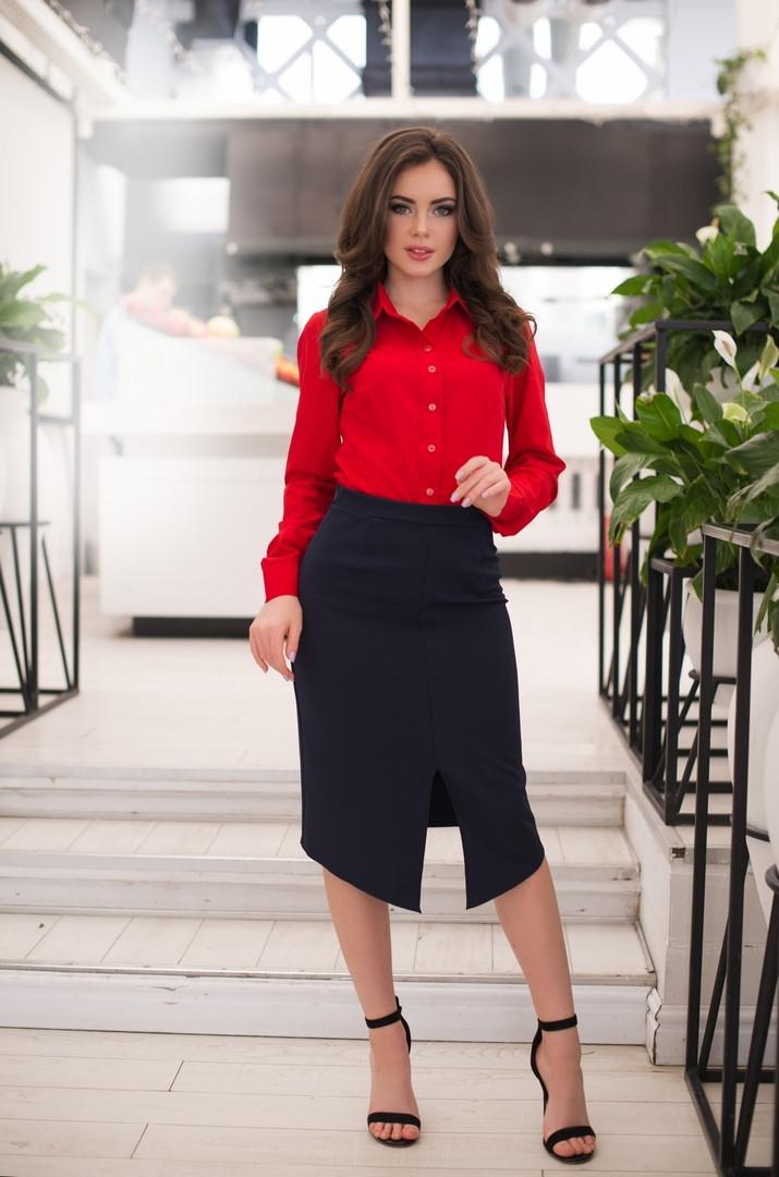 """Асимметричная женская юбка-карандаш """"DANA"""" с завышенной талией (5 цветов)"""