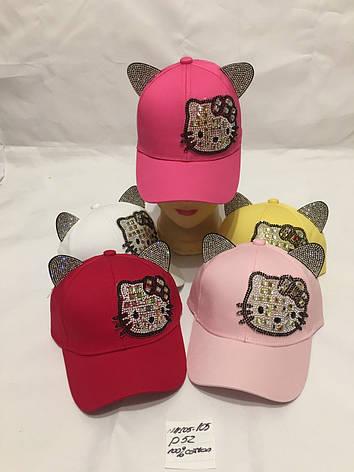 Дитяча кепка з вушками для дівчинки Kitty р. 52 100% cotton, фото 2