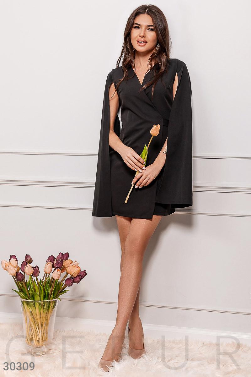 Модное платье мини на запах длинный рукав широкий с разрезом костюмная ткань черного цвета