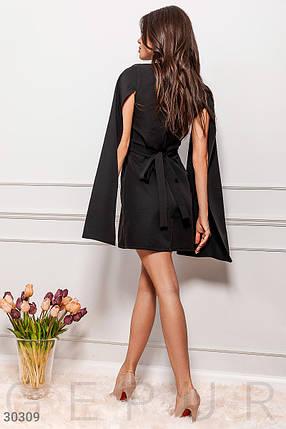 Модное платье мини на запах длинный рукав широкий с разрезом костюмная ткань черного цвета, фото 2
