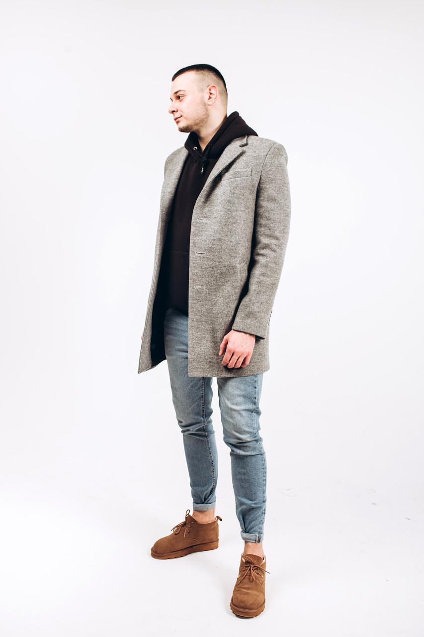 Пальто мужское из шерсти серой М3