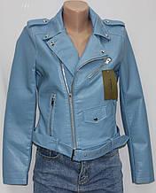 Куртка-косуха короткая женская, голубая, эко-кожа