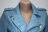 Куртка-косуха короткая женская, голубая, эко-кожа, фото 4