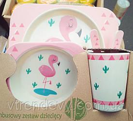 Набор детской посуды из бамбука Bamboo Fibre kids set Фламинго 5 в 1
