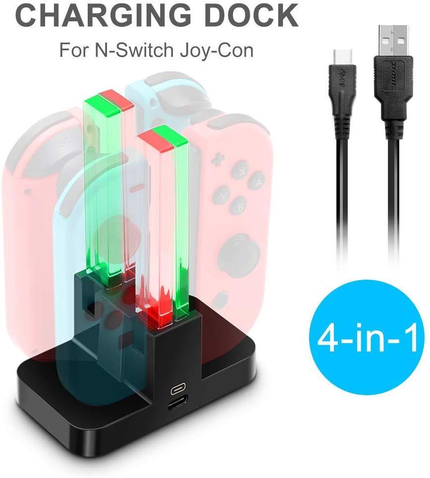 Зарядная док-станция 4 в 1 Joy Con для контроллеров Nintendo Switch