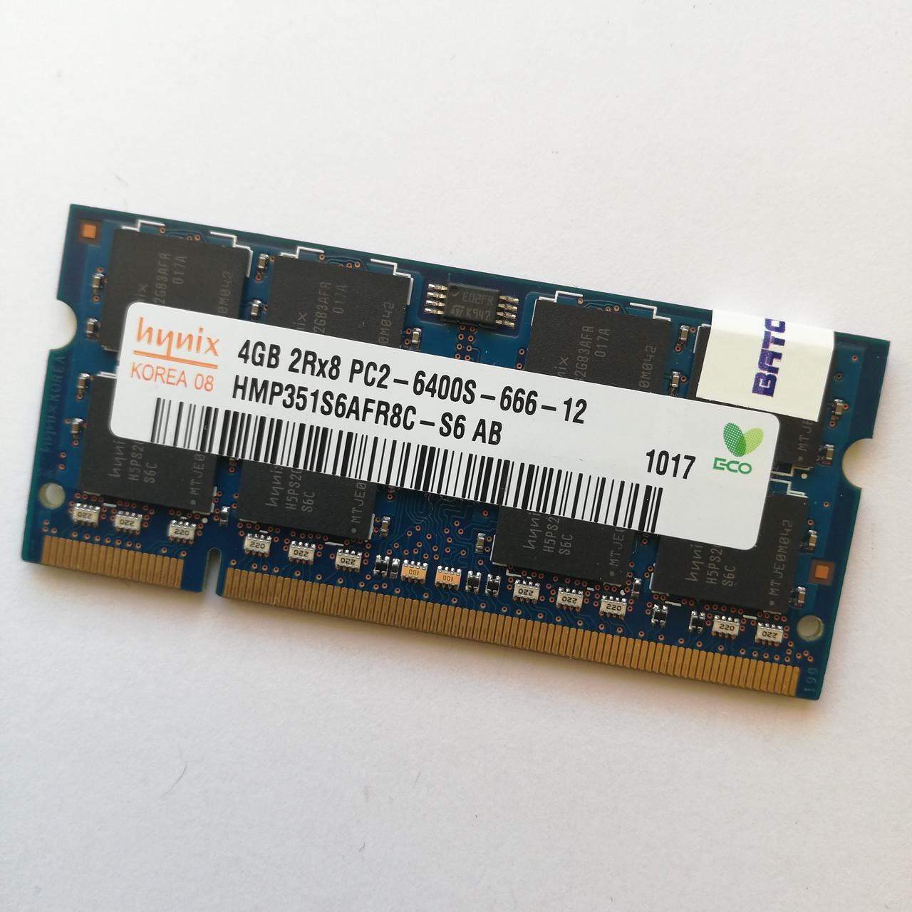 Оперативная память для ноутбука Hynix SODIMM DDR2 4Gb 800MHz 6400s CL6 (HMP351S6AFR8C-S6 AB) Б/У