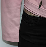 Куртка-косуха короткая женская, цвет пудра, эко-кожа, фото 4