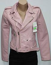 Куртка-косуха короткая женская, цвет пудра, эко-кожа