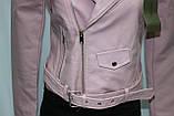 Куртка-косуха короткая женская, цвет пудра, эко-кожа, фото 6