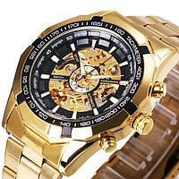 Стильные Часы мужские механические VINNER SKELETON (GOLD)