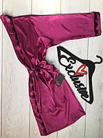Красивый шелковый халат с кружевом ТМ Exclusive 090, домашние халаты.