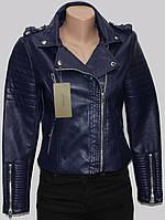 Куртка короткая женская кожаная, темно-синяя, весенняя, фото 1