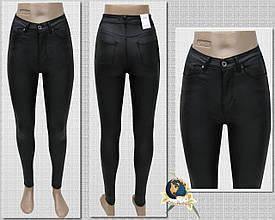 Завужені джинси жіночі з високою посадкою шкіра-стрейч чорного кольору