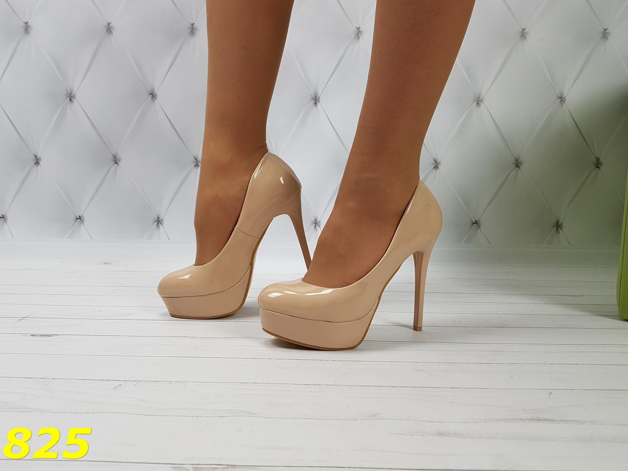 Туфли бежевые на шпильке с платформой