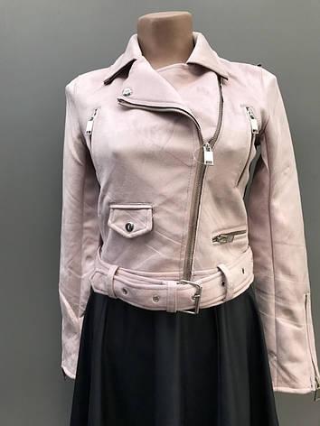 Красива жіноча демісезонна куртка з замша., фото 2