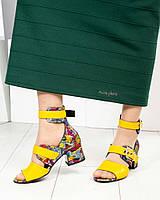 Яркие женские кожаные босоножки с ремешками на каблуке желтый Размер 37