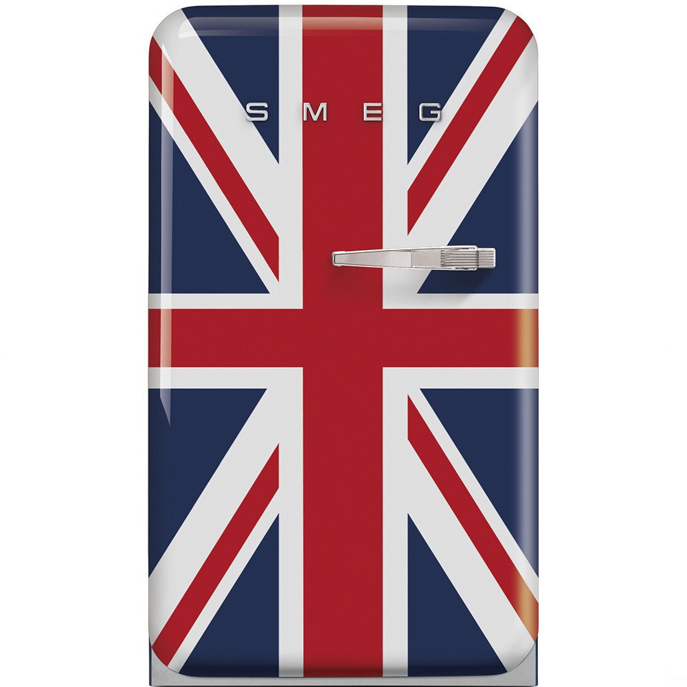 Отдельно стоящий однодверный холодильник, стиль 50-х годов Smeg FAB10LUJ британский флаг