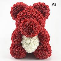 Мишка из 3D Роз с сердцем 40 см                                                               .