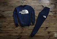 Мужской спортивный костюм The north face темно синий с манжетом Реплика